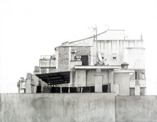 Luis Feo, Azotea 2, 206. Graphite and mixed technique on stone paper glued to board. 50 x 40 cm