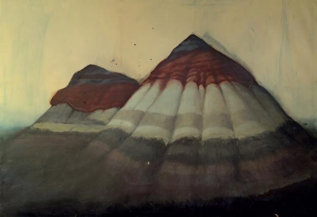 ALEJANDRO CAMPINS, Vida externa. De la serie Bad Lands, 2019. Óleo sobre lienzo, 178 x 260 cm. Obra única — Cortesía de la Galería Elba Benítez