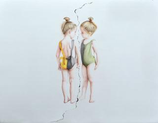 Pablo Arrázola, Composición #1 de la serie Apuchumala, 2020, lápices de color sobre papel rasgado, 128 cm x 98 cm. — Cortesía de Beatriz Esguerra Arte