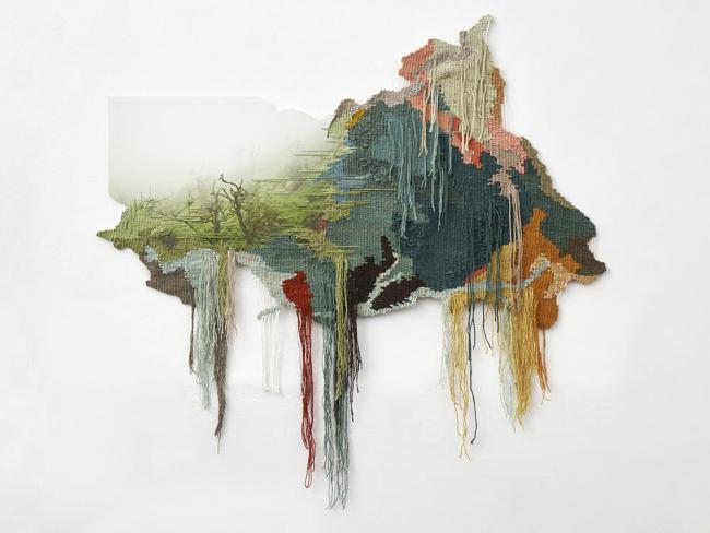 """Ana Teresa Barboza, """"Lomas de Lachay 1"""". Tejido teñido con tintes naturales bordado sobre fotografía en papel de algodón. 2020"""