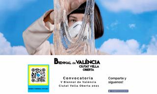 """Cartel de la """"Convocatoria 5ª Bienal de Valencia Ciutat Vella Oberta 2021"""""""