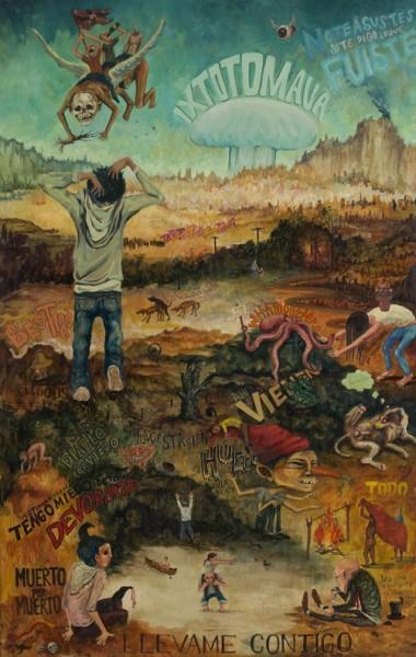 Lucía Vidales Lojero, Llévame contigo, de la serie Quiero ir a casa, 2012, óleo y encausto sobre madera. 190 x 120 cm. Primer Premio Arte Lumen 2015
