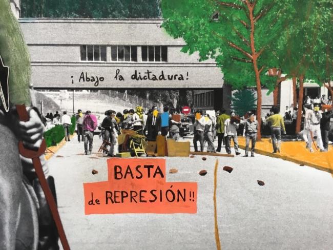 Brodsky, M. Madrid. Universidad Complutense. 1968. Fotografía intervenida en 2018 – Cortesía de Freijo Gallery