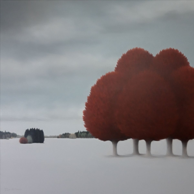 Leo Wellmar, Red Trees. Óleo sobre lienzo. 89 x 89 cm. 2019 — Cortesía de My Name's Lolita Art