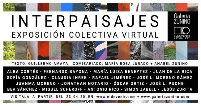 Cartel de la exposición Interpaisajes organizada por Eldevenir Art Gallery y Galería Zunino