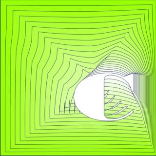 Caligrafía de la letra C, en verde
