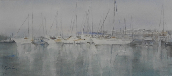 Puerto de Burriana.Acuarela,23x53 cm.