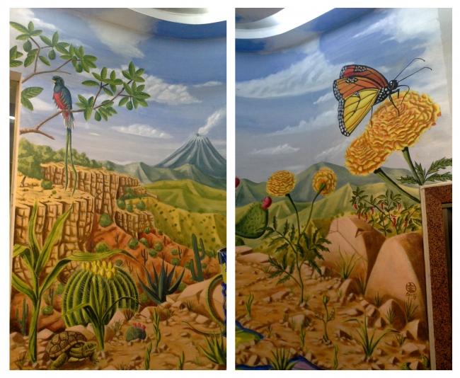 Delio Rodríguez Ces, O xardín silvestre. Intervención mural interior —  Cortesía de AD Grupo Regueira
