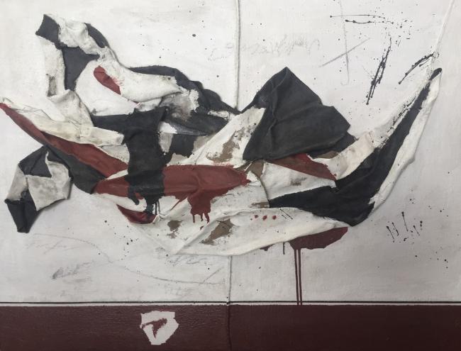 Naufragio Técnica mixta sobre arpillera 97 x 127 cm