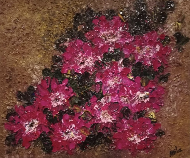 Nueve flores rojas 50 x 60 cm Óleo sobre lienzo