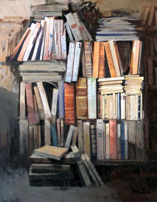 """Rafael Català, """"LIBROS C16""""  Oleo sobre lienzo. 92 x 73 cm. — Cortesía de Omnium Ars"""
