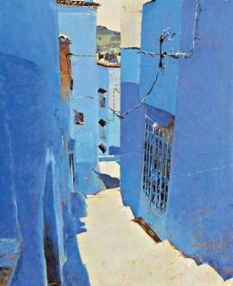 Magí Puig, Chaouen. Óleo sobre tela , 100 × 81 cm.  — Cortesía de la Sala Parés