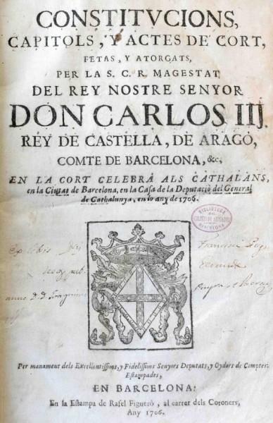 Exposició de constitucions de Catalunya impreses: 1481-1706