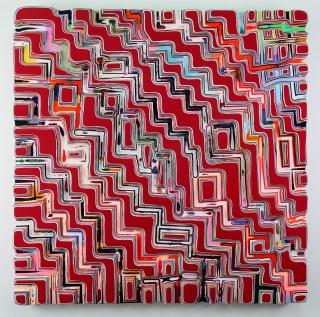 Markus Linnenbrink, WHOSOLDTHENEWWORLD 2019, pigments, epoxy resin on wood, 122 x 122 cm. — Cortesía de la Galería Max Estrella