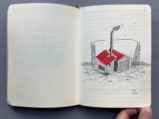 """Luis Pérez Calvo. Página del cuaderno """"Apocalipsis"""", Marzo-Junio de 2020. 22x16 cm y 192 páginas — Cortesía de La Gran"""