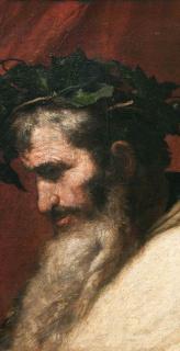"""José de Ribera, Cabeza del dios Baco, 1636. Óleo sobre lienzo © Museo Nacional del Prado — Cortesía de la Fundación """"la Caixa"""""""