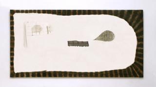 Marta Barrenechea, La manta de mi infancia me está hablando pero no la entiendo, 2020. Óleo y bordado sobre lino, 96x196 cm. — Cortesía de la Galería Rafael Pérez Hernando