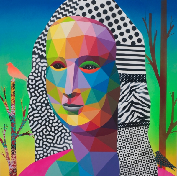 Okuda San Miguel. Mona Lisa looking at the future (Acrílico sobre madera, 120 x 120 cm)