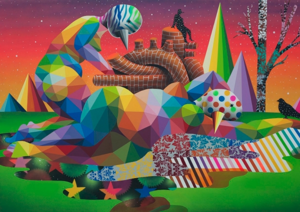 Okuda San Miguel. The relief of the muses (acrílico sobre madera 122x180 cm.)