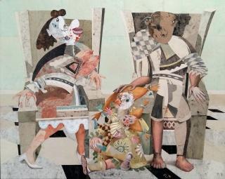 Miguel Rasero, La familia del pintor II, mixta sobre madera, 160×200 cm.