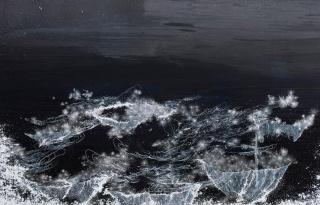 Sandra Cinto . Noturno (candelabros), 2019. acrylic and permanent pen on canvas. 160 x 250 cm — Cortesía de Casa Triângulo