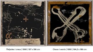 Antoni Tàpies. Petjades i creus, 1990, 197x196 cm. // Ossos i vernís, 1990, 194'5x196 cm. — Cortesía de la Fundació Vila Casas