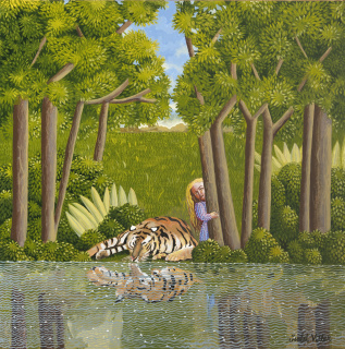 Tigre bebiendo, 2020. Acrílico sobre lienzo. 80 x 80 cm