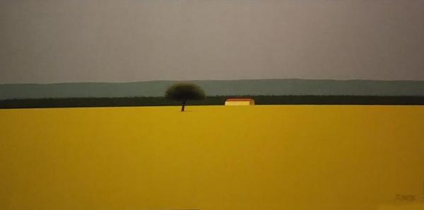 José Esteban Basso. Campo Amarillo. Óleo sobre tela. 30 x 60 cm.