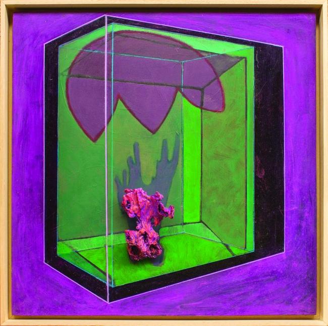 "Jon Barredo, ""Escultura barroca en su espacio"" 64 x 64,   o?leo y objetos encontrados sobre okume (Foto: Jon Zurimendi)"