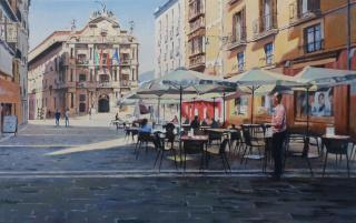 Félix Flamarique. Terraza en Plaza Consistorial, 50x80cm. — Cortesía de la Galería Michel Menendez