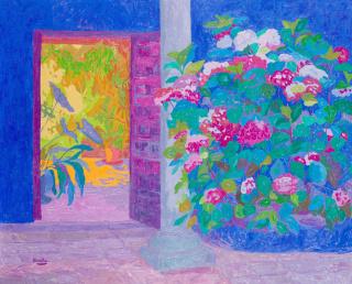 NINOSKA, Hortensias junto a la salida del patio. La Vera. 81 x 100 cm. óleo sobre lienzo