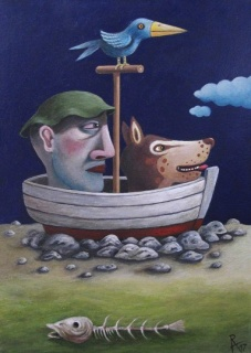 Rogério Araújo, À espera da maré, 2017. Acrílico sobre tela, 33x21cm. — Cortesía de Allarts Gallery