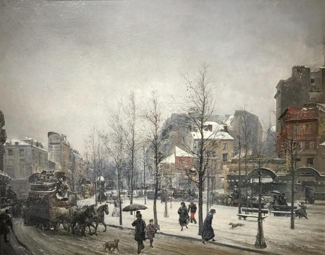 Ramon Martí i Alsina, Boulevard Clichy, París, 1879. Oli sobre tela, 74 x 93 cm. — Cortesía de la Sala Parés