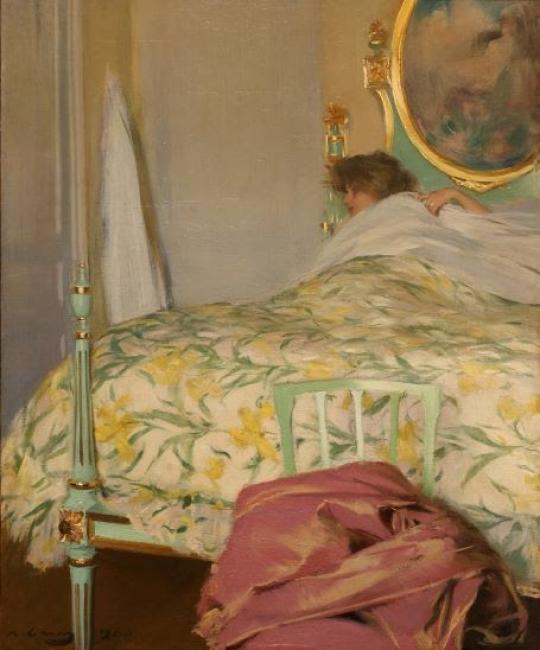 Ramon Casas, La grasse matinée, 1900. Oli sobre tela, 65 x 54 cm. — Cortesía de la Sala Parés