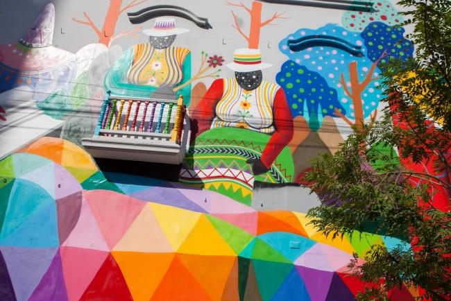 Mural del artista urbano Okuda San Miguel. Detalle