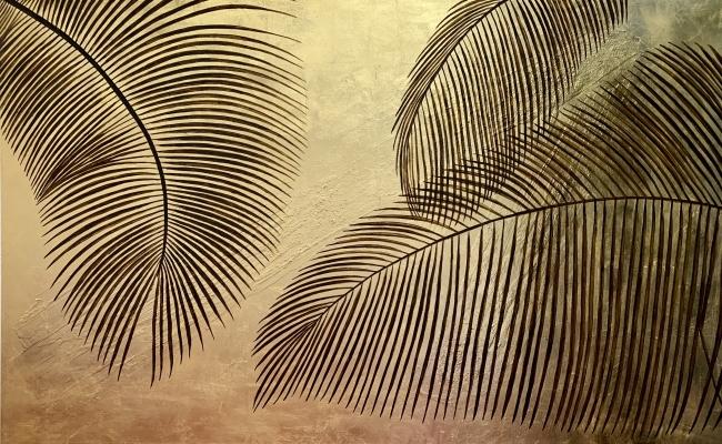 Palm trees 100 x 140 cm Óleo y oro sobre lienzo