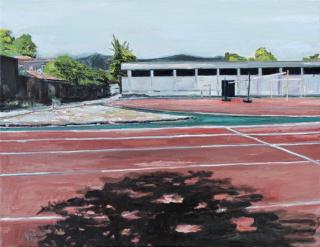 Alejandro Quiroga, Educacion de calidad, óleo, 2019. Fotografía de obra por Jorge Brantmayer — Cortesñía del Museo de Arte Contemporáneo
