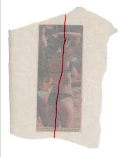 Nicolás Franco,  Afterall, 1998-99. Periódico recortado, papel de cera y marcador rojo.Dimensiones variables — Cortesía de Aninat Galería de Arte