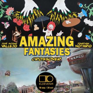 """Cartel de la exposición """"Amazing Fantasies Crossover"""" de Jonathan Notario y José Vallejo en Eldevenir"""