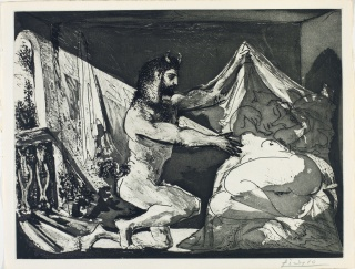 Pablo Picasso_Suite Vollard. Faune dévoilant une Femme [Satyr and Sleeping Woman] June 12, 1936