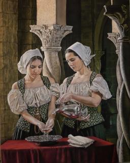 Ángel Sánchez Anguas, Damas de la corte [1º Premio Ana María Purón] — Cortesía de ASPAS Pintores Pastelistas Españoles