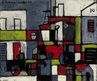 JOAQUÍN TORRES-GARCÍA, Port constructif avec ciel bleu [Puerto constructivo con cielo azul], 1930, Oil on canvas, 20 1/4 x 24 1/4 in. [51.4 x 61.9 cm.]