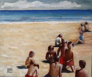 María Robles. Playa Cabo de Palos I. Óleo sobre tabla, 49x58 cm