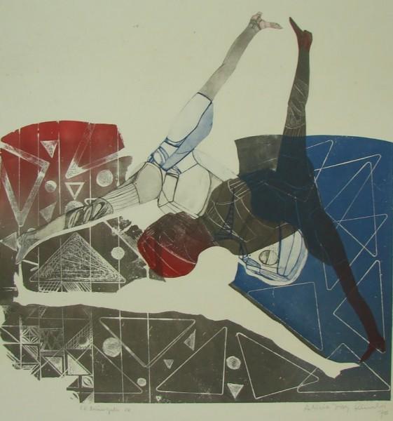 Alicia Díaz Rinaldi, El triángulo, 1976. Grabado en Aguafuerte. P/A. 69 x 56 cm.