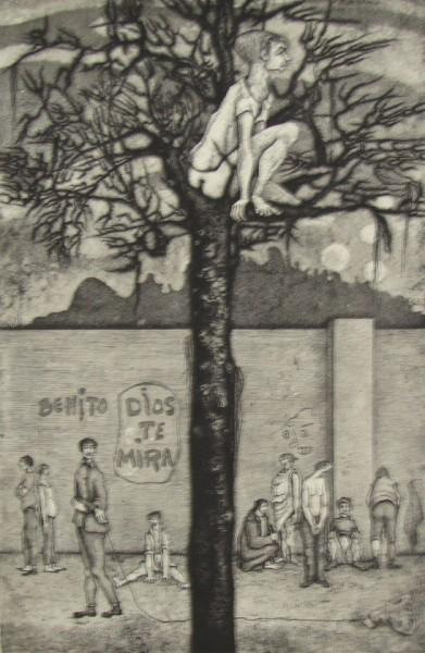 Aída Carballo, Benito Dios te mira, Grabado en Aguafuerte. 70 x 50 cm.