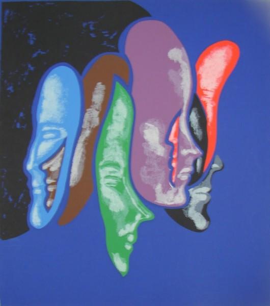 Rómulo Macció, Caras, circa 1980. Serigrafía. 70 x 50 cm.