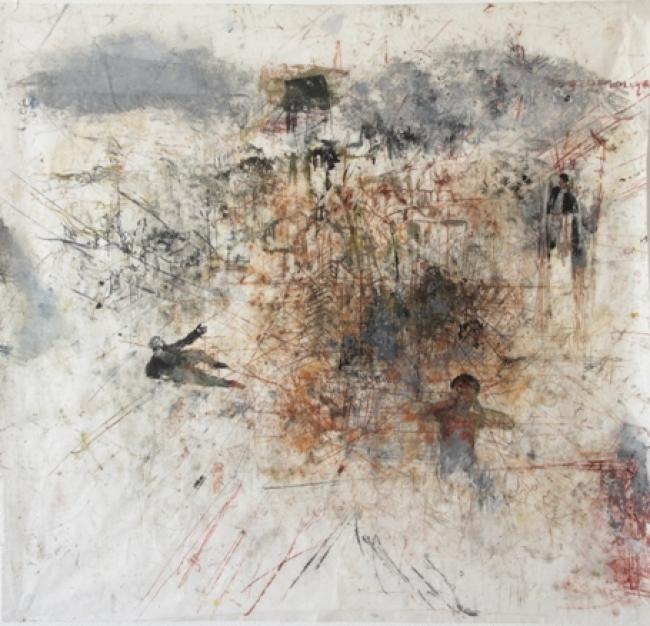 Biba Rigo, Sem título, da serie sismógrafos do temperamento monotipia sobre papel de arroz, 2018, 100x100cm