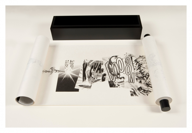 Christian Marclay Manga Scroll 2010 Lithographic hand scroll 16 x 787 1/2 in. (40.6 x 2,000.3 cm) © the artist. Photo © USF Graphicstudio (Will Lytch) Courtesy White Cube — Cortesía del MACBA