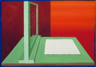 Gloria Martín, Serie máquinas de dibujar. 2019. 42X49 cm. Óleo sobre papel — Cortesía de la Galería silvestre