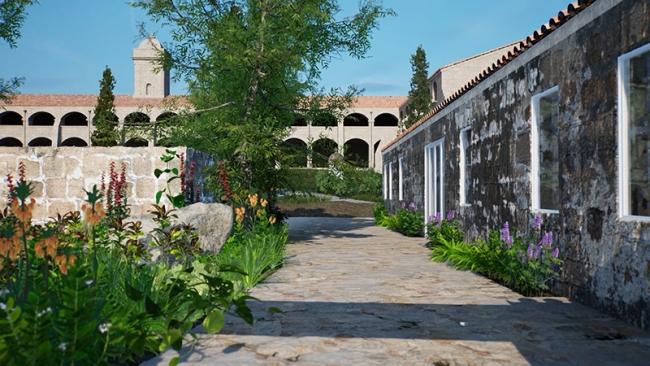 Vista del exterior de Hauser & Wirth Menorca creada con HWVR, cortesía Hauser & Wirth